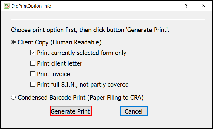Generate Printable file