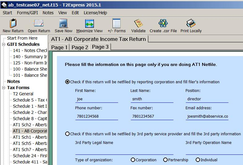 AT1 Netfile Filer Information